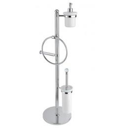 OLIMP-WBD-03/24-M Стойка напольная с держателем туалетной бумаги, щёткой для унитаза, полотенцедержателем и держателем дозатора для жидкого мыла CEZARES OLIMP-WBD