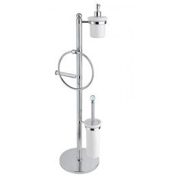 OLIMP-WBD-02-M Стойка напольная с держателем туалетной бумаги, щёткой для унитаза, полотенцедержателем и держателем дозатора для жидкого мыла CEZARES OLIMP-WBD