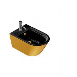 1BS55NRNO Catalano 68690 GOLD & SILVER Биде подвесное 55*35, безободковое, черное/золото. Крепеж включен.