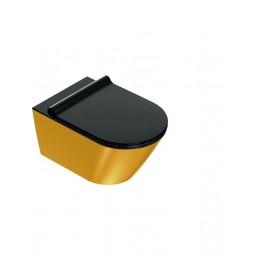 1VS55NRNO Catalano 68714 GOLD & SILVER Унитаз подвесной 55*35, безободковый, черн/золото. Крепеж включен.